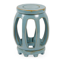 Chinese Hand Made, 18 Inch Drum   Barrel Stool, Accent Table, Crackle Aquamarine Finish