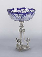 Raised Tripod Scroll Pedestal, 13 Inch Scalloped Edge Cobalt Blue Cut Crystal Compote | Compotier Dish, Silver Wash Finish