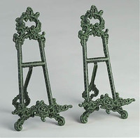 Louis XV Rococo Style Cast Iron, 13.5 Inch Pair Counter | Tabletop Easels, Antique Green Finish