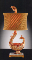 A Fanciful Peacock - Tabletop Lamp - 26 Inch Buffet Lamp with a Concave Pleated Shade
