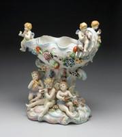 Meissen Style Tabletop, 13t x 11L x 7.5d Porcelain Compotier | Pedestal Urn - Vase | Raised Bowl