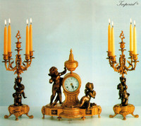An Imperial Garniture, Handmade Reproduction Italian Gilt Brass Ormolu Clock And 5 Branch Candelabra Set, French Gold Finish