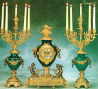 Antique Style French Louis Gilt Brass Ormolu Garniture, Verde Delle Alpi Marble Mantel Clock And Six Light Candelabra Set, French Gold Finish, Handmade Reproduction of a 17th, 18th Century Dore Bronze Antique, 4603