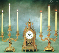Antique Style French Louis Garniture - Gilt Brass Ormolu Mantel Clock And Three Light Candelabra Set, French Gold Finish, Handmade Reproduction of a 17th, 18th Century Dore Bronze Antique, 2601