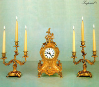 An Imperial Garniture, Handmade in Italy, Reproduction Italian Brass Ormolu, Louis XV, Rococo Clock And 11 Inch Three Branch Candelabra Set, French Gold Gilt Patina