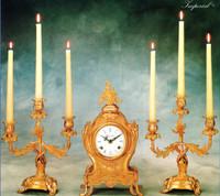 Imperial Handmade Garniture, Reproduction Italian Brass Ormolu Clock And 11.02 Inch Three Branch Candelabra Set, French Gold Gilt Patina