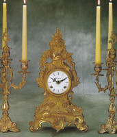 "Fancy Gilt Brass Ormolu 14.96"" Mantel Clock - French Gold Finish - Handmade Reproduction of a 17th, 18th Century Dore Bronze Antique, 2598"