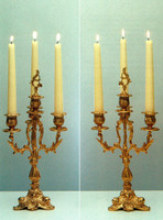 An Imperial Handmade Reproduction Italian Gilt Brass Ormolu, Four Branch Candelabra Set, French Gold Finish
