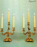 An Imperial Handmade in Italy Reproduction Italian Brass Ormolu, Louis XV, Rococo, Imperial 11 Inch Three Branch Candelabra Set, French Gold Gilt Patina