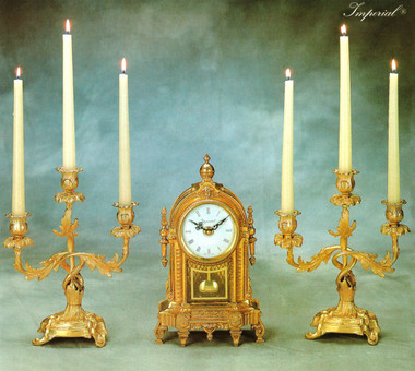 Antique Style French Louis Garniture, Gilt Brass Ormolu Mantel Clock And Three Light Candelabra Set, French Gold Finish, Handmade Reproduction of a 17th, 18th Century Dore Bronze Antique, 2592