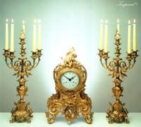 Imperial Handmade Garniture, Reproduction Gilt Brass Ormolu Italian Clock And Six Branch Candelabra Set, French Gold Finish 2591 LEB - Clock #16 and Candelabra #63 Set
