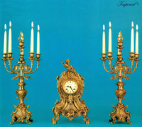 An Imperial Handmade Reproduction Garniture, Gilt Brass Ormolu Italian Clock And Six Branch Candelabra Set, French Gold Finish