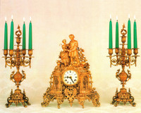 Antique Style French Louis Garniture, Gilt Brass Ormolu Mantel Clock And Five Light Candelabra Set, French Gold Finish, Handmade Reproduction of a 17th, 18th Century Dore Bronze Antique, 2587