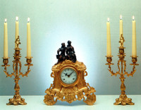 An Imperial Handmade Reproduction Garniture, Gilt Brass Ormolu Italian Clock And Four Branch Candelabra Set, French Gold Finish