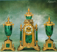 Imperial Handmade Reproduction Garniture, Gilt Brass Ormolu, Malachite finished Italian Porcelain Clock And Urn Set, French Gold Finish