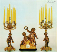 An Imperial Garniture, Handmade Reproduction Gilt Brass Ormolu Italian Clock And Nine Branch Candelabra Set, French Gold Finish