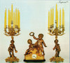 Antique Style French Louis Garniture, Gilt Brass Ormolu Mantel Clock And Nine Light Candelabra Set, French Gold Finish, Handmade Reproduction of a 17th, 18th Century Dore Bronze Antique, 2550