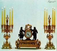 An Imperial Garniture, Handmade Reproduction Gilt Brass Ormolu Italian Clock And Five Branch Candelabra Set, French Gold Finish 2549 LEB - Clock #40 and Candelabra #45 Set