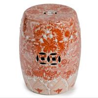 Finely Finished Ceramic Garden Stool, 17 Inch, Orange and White Dragon Design