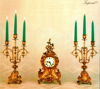 An Imperial Garniture, Handmade in Italy Reproduction Italian Brass Ormolu, Louis XV, Rococo, Clock And 16.53 Inch Three Branch Shallow Candelabra Set, French Gold Gilt Patina