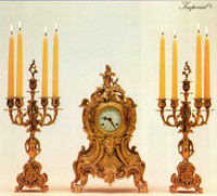 Antique Style French Louis Garniture Set - Ornamental d'Oro Ormolu - Mantel, Table Clock and Five Light Candelabra - Louis XV, Rococo - Choose Your Finish, Handmade Reproduction of a 17th, 18th Century Dore Bronze Antique, 2550