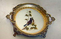 Bluebird Nature Scene - Luxury Handmade Reproduction Chinese Porcelain and Gilt Brass Ormolu - 7 Inch Coaster Bluebird #3 Set of 2 - Style A23D