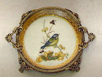 Bluebird Nature Scene - Luxury Handmade Reproduction Chinese Porcelain and Gilt Brass Ormolu - 7 Inch Coaster Bluebird #5 Set of 2 - Style A23D