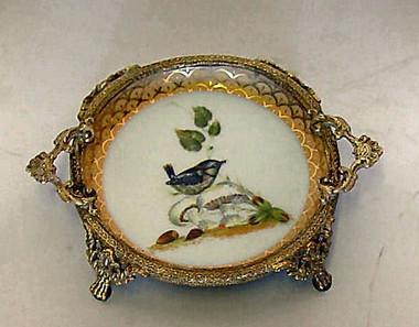 Bluebird Nature Scene - Luxury Handmade Reproduction Chinese Porcelain and Gilt Brass Ormolu - 7 Inch Coaster Bluebird #2 Set of 2 - Style A23D