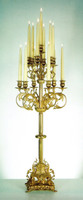 An Imperial Handmade Reproduction 37 Inch Gilt Brass Ormolu 13 Branch Candelabrum