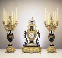 An Imperial Handmade Reproduction Garniture, Gilt Brass Ormolu Nero Marquina Italian Marble Clock and Candelabra