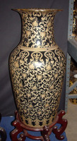 Ebony Black and Gold Lotus Scroll - Luxury Handmade Reproduction Chinese Porcelain - 36 Inch Palace Vase   Jardiniere Style B79