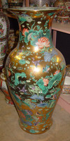 Golden Floral - Luxury Handmade Reproduction Chinese Porcelain - 36 Inch Palace Vase | Jardiniere - Style 3