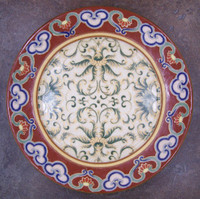 Chinese Red and Fern Green, Luxury Handmade Reproduction Chinese Porcelain, 10 Inch Decorative Display Plate Style 83
