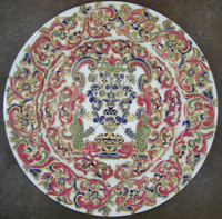 White and Magenta Flourish, Luxury Handmade Reproduction Chinese Porcelain, 10 Inch Decorative Display Plate Style 83