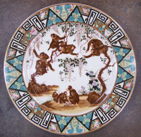 Merry Monkeys, Luxury Handmade Reproduction Chinese Porcelain, 10 Inch Decorative Display Plate Style 83