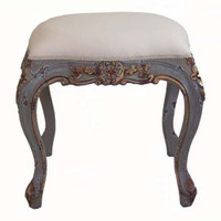 Custom Decorator - Square Carved Wood Stool 20.9 Inch - Upholstered Seat