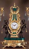 Green Semi-Precious Gemstone, Malachite shown with 24 Karat Gold Patina on a Mantel, Table Clock #9, 6765