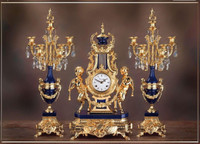 Antique Style French Louis Crystal and Lapis Lazuli, d'Oro Ormolu Garniture - Mantel, Table Clock, Seven Light Candelabra Set - 24k Gold Patina - Guirlande de Butin, Handmade Reproduction of a 17th, 18th Century Dore Bronze Antique, 454