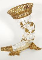 White Bohemian Crystal Horn of Plenty, 16 Inch Vase, Burnished Gold Gilt Finish Accents