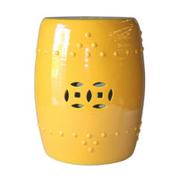 Finely Finished Ceramic Garden Stool, 17 Inch, Polished Yellow Finish