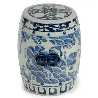 Finely Finished Ceramic Garden Stool, 17 Inch, Classic Blue & White Dragon Design