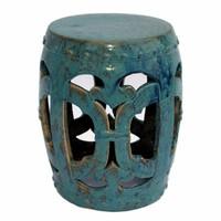 Finely Finished Ceramic Garden Stool, 18 Inch, Antiqued Turqoise Finish