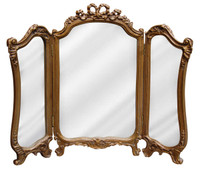 "Classic Elements 31.5"" X 26.75"" Three Panel Reproduction Vanity Mirror, Gold Antique Finish"
