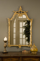 "Classic Elements 42"" X 25.5"" Rectangular Shape Beveled Glass Reproduction Mirror, Gold Leaf Finish"