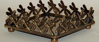 Brass Dragon Fly Beverage Napkin Trays, Antique Brass Finish, Set of Two