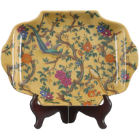 Yellow Floral Pattern, Luxury Hand Painted Porcelain, 14L X 9deep X 1.25t, Decorative Tray | Plate