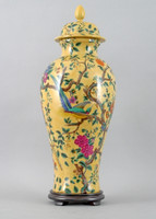 A Yellow Floral Pattern, Luxury Hand Painted Porcelain, 24 Inch Covered Urn