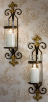 Wall Sconce, Fleur de Lis, Antique Brass, Pair