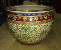 Chinese Red and Fern Green - Luxury Handmade Reproduction Chinese Porcelain - 18 Inch Fish Bowl, Planter, Cache Pot - Style 35