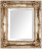 """French Baroque Louis XIV Style, 5.25"""" Wide Frame, 26.75"""" Small Antiqued Silver Drama Bevel Glass Mirror"""